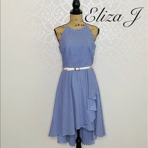 ELIZA J BLUE AND WHITE HIGH-LOW HALTER DRESS